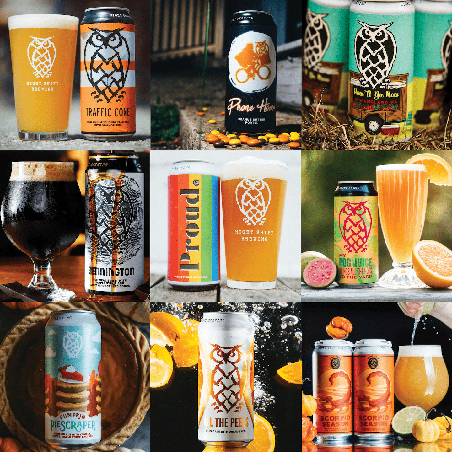 A variety of limited release beers including IPA, stout, porter, sour beer