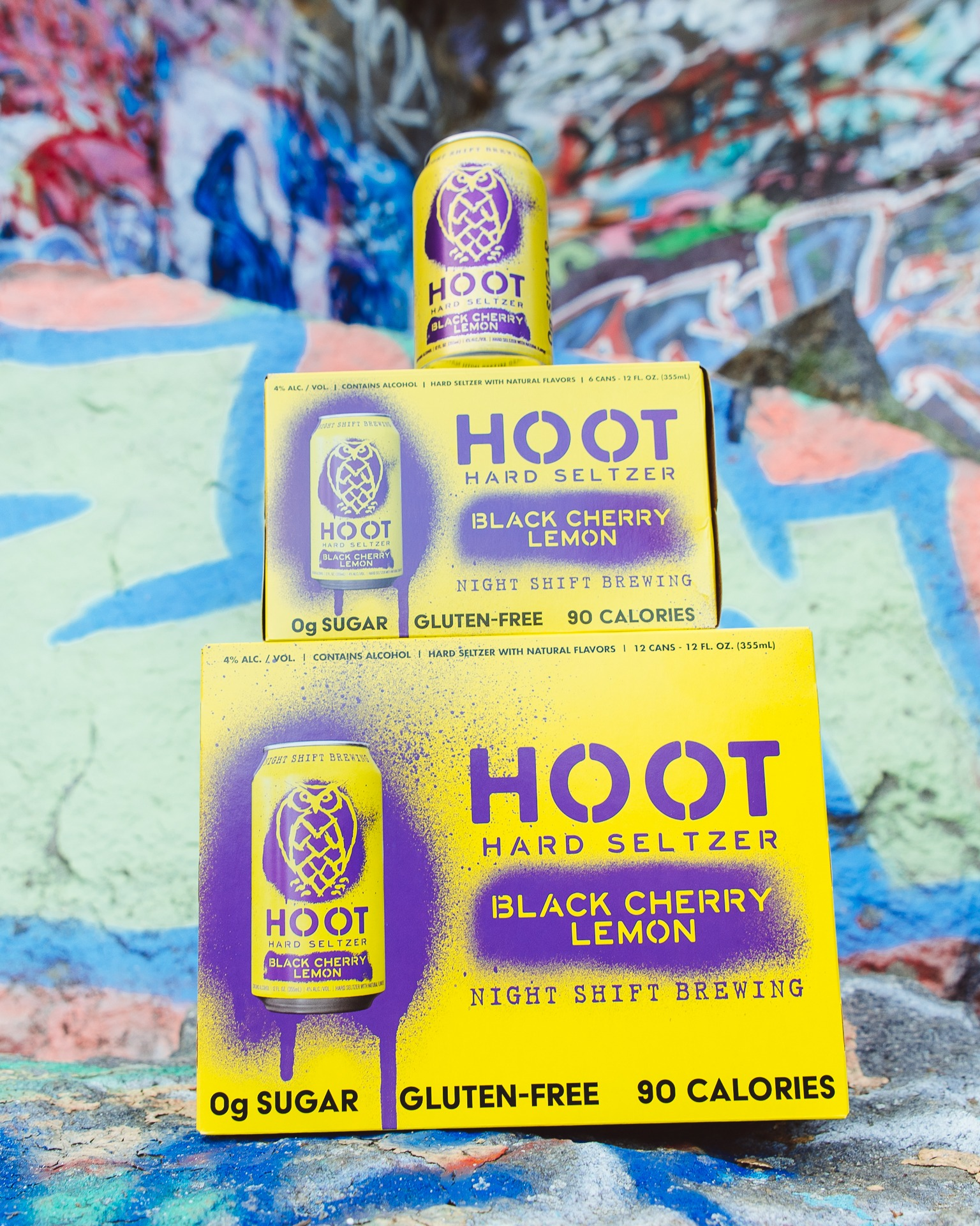 Cans of Hoot Hard Seltzer Black Cherry Lemon