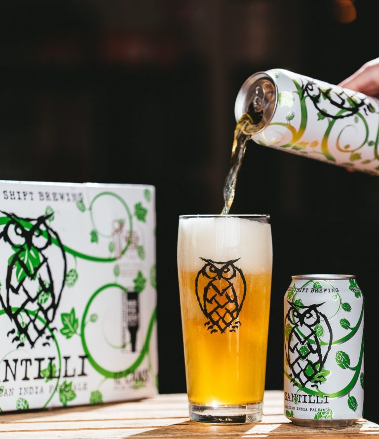 Santilli IPA pour. This beer is bright gold and crisp.